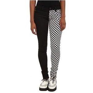 LIKE NEW❗️Half black half checkered skinny jeans